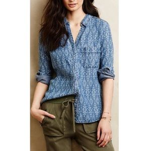 New Holding Horses Anthro Denim Ikat Button Up Top